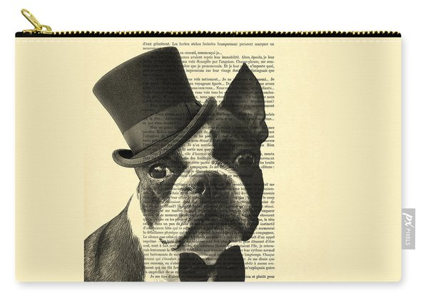 Boston Terrier, Animals In Clothes, Portrait Carry-all Pouch