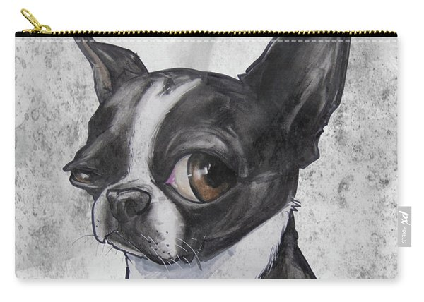 Boston Terrier - Grey Antique Carry-all Pouch