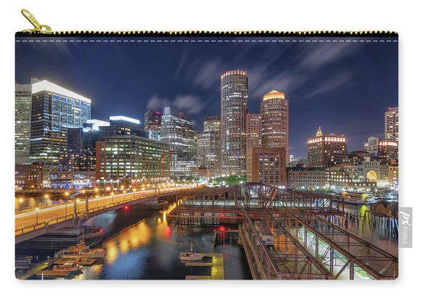 Boston's Skyline At Night Carry-all Pouch