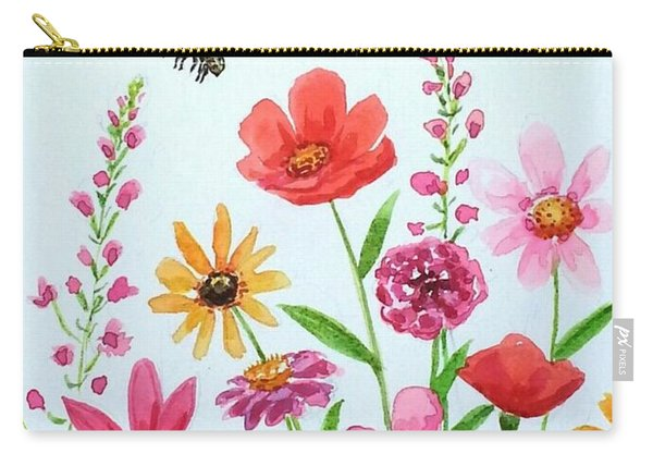 Botanical Flowers And Bees Carry-all Pouch