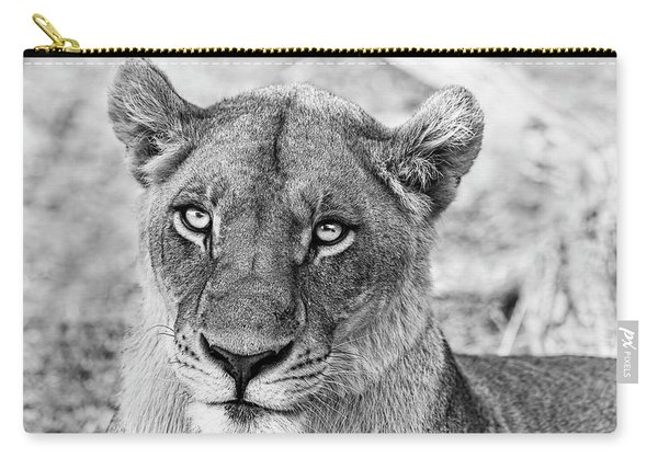 Botswana  Lioness In Black And White Carry-all Pouch