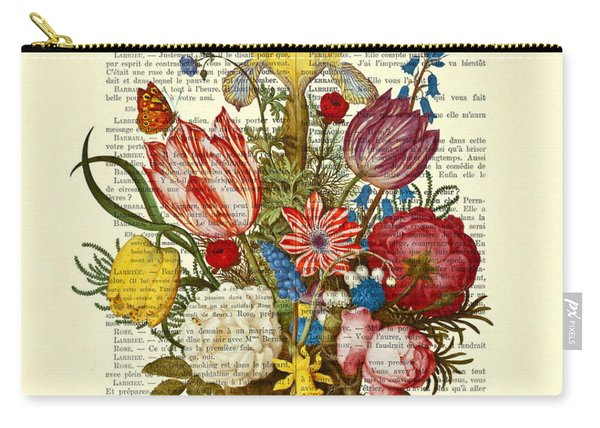 Bouquet Of Flowers On Dictionary Paper Carry-all Pouch