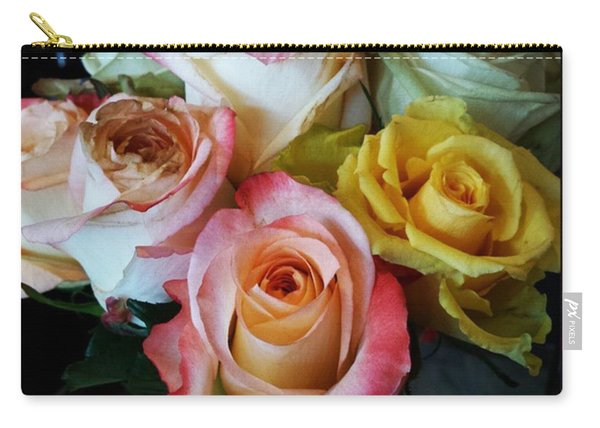 Carry-all Pouch featuring the photograph Bouquet Of Mature Roses At The Counter by Mr Photojimsf