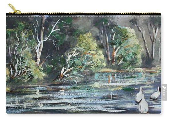 Carry-all Pouch featuring the painting Boy And Geese At The Creek. by Ryn Shell