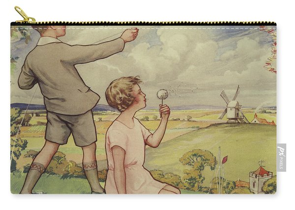 Boy And Girl Flying A Kite Carry-all Pouch
