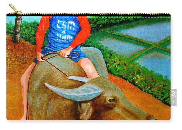 Boy Riding A Carabao Carry-all Pouch