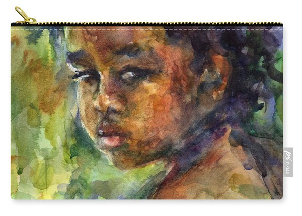 Boy Watercolor Portrait Carry-all Pouch