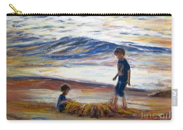 Carry-all Pouch featuring the painting Boys Playing At The Beach by Ryn Shell