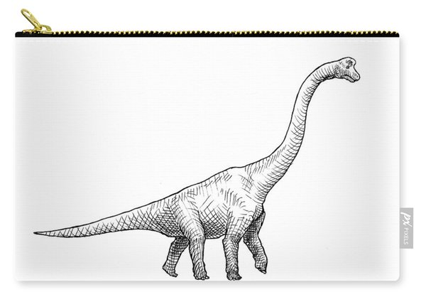 Brachiosaurus Dinosaur Black And White Dino Drawing  Carry-all Pouch