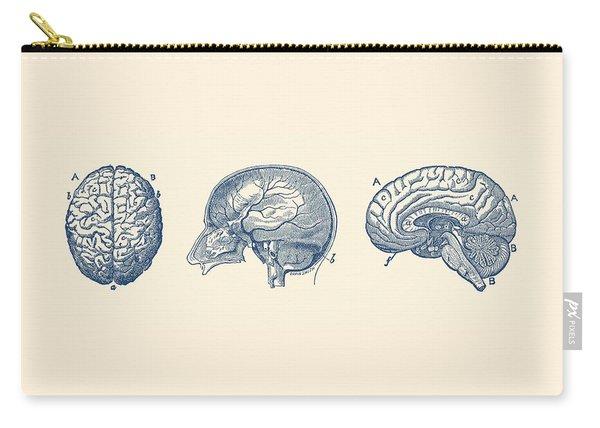 Brain Diagram - Three Views - Vintage Anatomy Print Carry-all Pouch