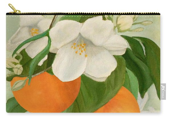 Carry-all Pouch featuring the painting Branch Of Orange Tree In Bloom by Angeles M Pomata