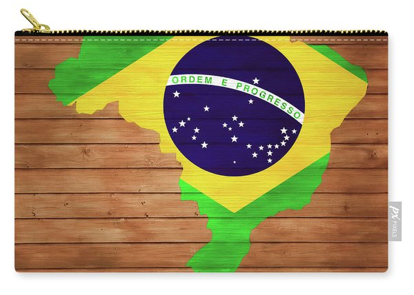 Brazil Rustic Map On Wood Carry-all Pouch