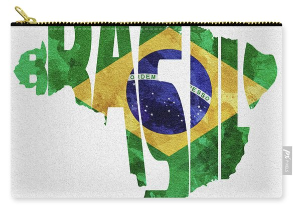 Brazil Typographic Map Flag Carry-all Pouch