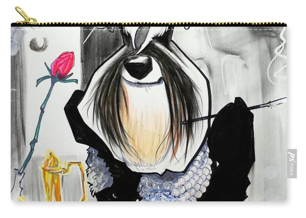 Breakfast At Tiffany's Schnauzer Caricature Carry-all Pouch