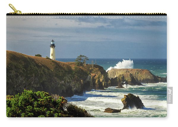 Breaking Waves At Yaquina Head Lighthouse Carry-all Pouch
