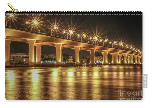 Carry-all Pouch featuring the photograph Bridge And Golden Water by Tom Claud