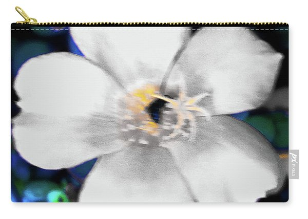 Bright Blue Accents White Vinca Carry-all Pouch