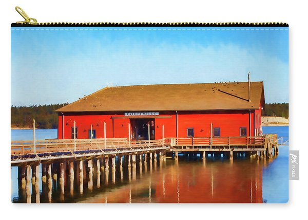 Bright Red Coupeville Wharf On Whidbey Island Carry-all Pouch