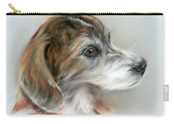 Brindle Beagle Mix Portrait Carry-all Pouch