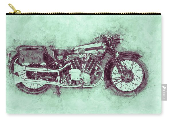 Brough Superior Ss100 - 1924 - Motorcycle Poster 3 - Automotive Art Carry-all Pouch