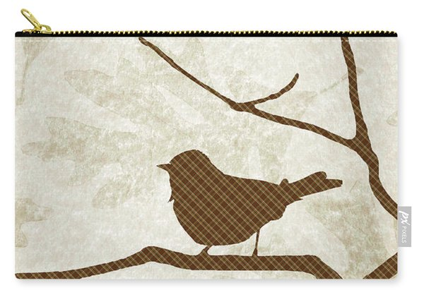 Brown Bird Silhouette Modern Bird Art Carry-all Pouch