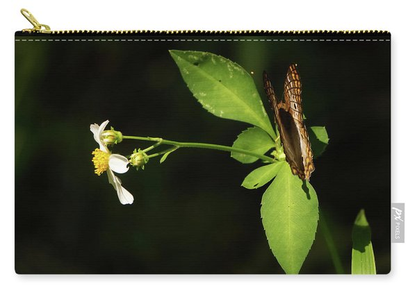 Brown Butterfly On Leaves Carry-all Pouch