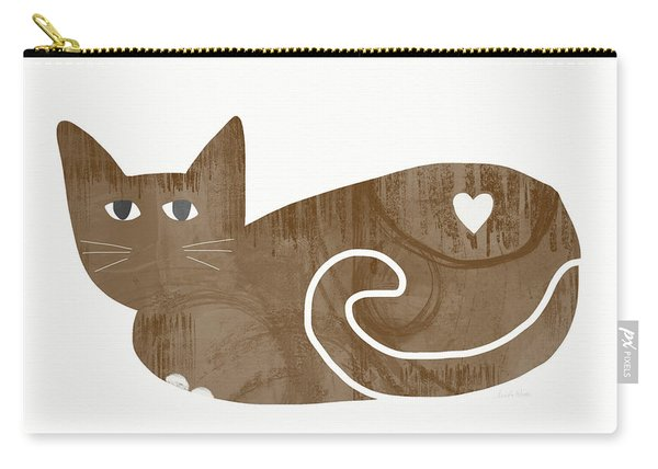 Brown Cat- Art By Linda Woods Carry-all Pouch