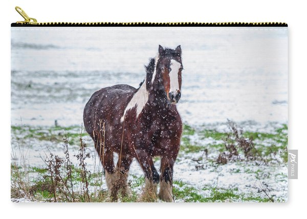 Carry-all Pouch featuring the photograph Brown Horse Galloping Through The Snow by Scott Lyons