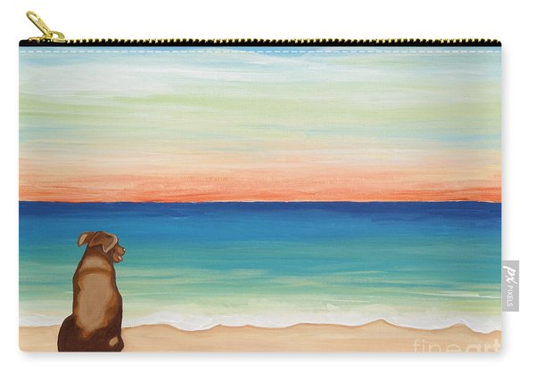 Brown Lab Dog On The Beach Carry-all Pouch