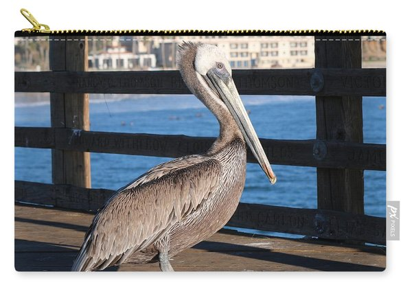 Carry-all Pouch featuring the photograph Brown Pelican On Oceanside Pier  by Christy Pooschke
