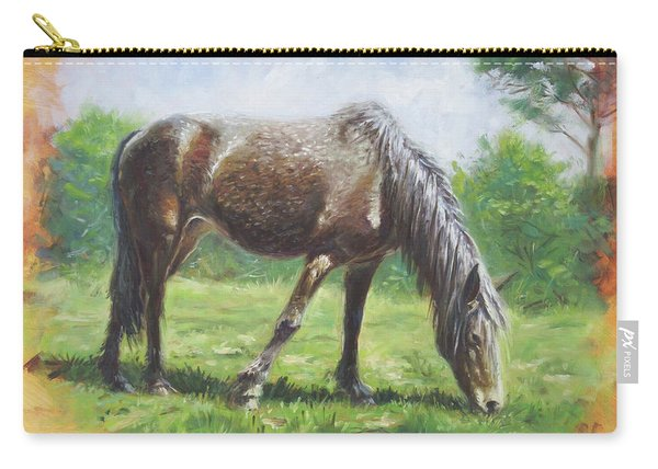 Carry-all Pouch featuring the painting Brown Standing Horse Eating by Martin Davey