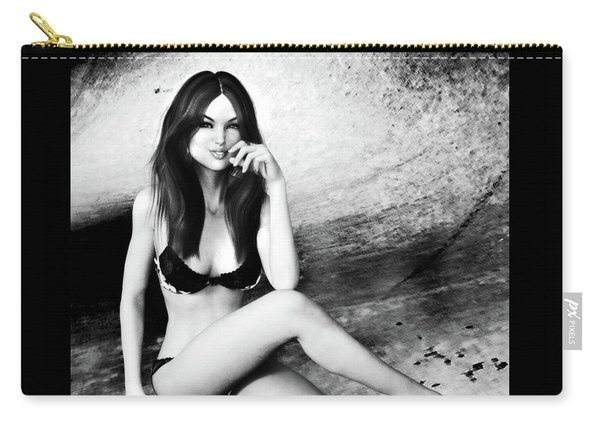 Brunette In Lingerie Black And White Carry-all Pouch