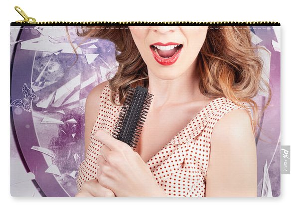 Brunette Salon Girl With Smashing New Hair Style Carry-all Pouch