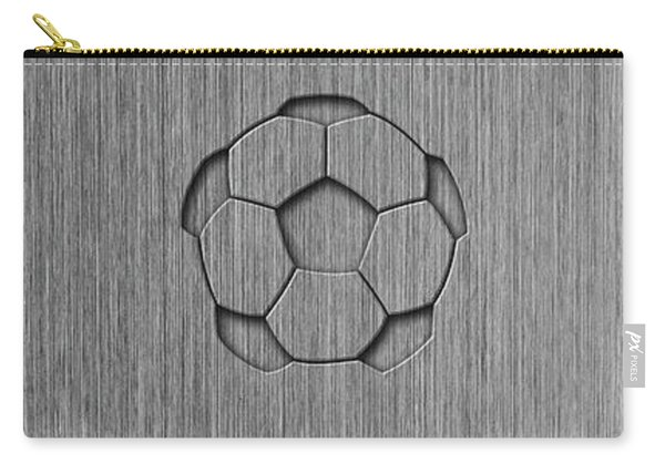 Brushed Aluminum Texture With Soccer Ball Carry-all Pouch