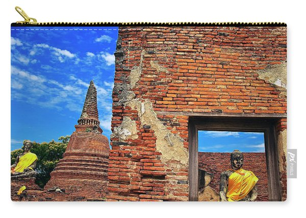 Carry-all Pouch featuring the photograph Buddha Doorway At Wat Worachetha Ram In Ayutthaya, Thailand by Sam Antonio Photography
