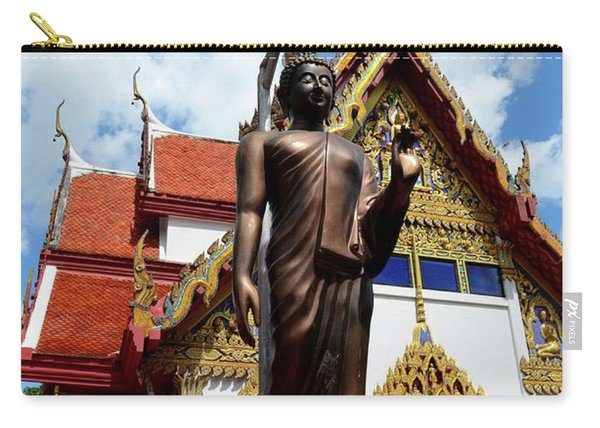 Buddha Statue With Sunshade Outside Temple Hat Yai Thailand Carry-all Pouch