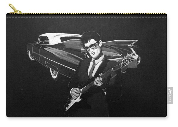 Carry-all Pouch featuring the painting Buddy Holly And 1959 Cadillac by Richard Le Page