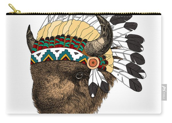 Buffalo With Indian Headdress In Color Carry-all Pouch