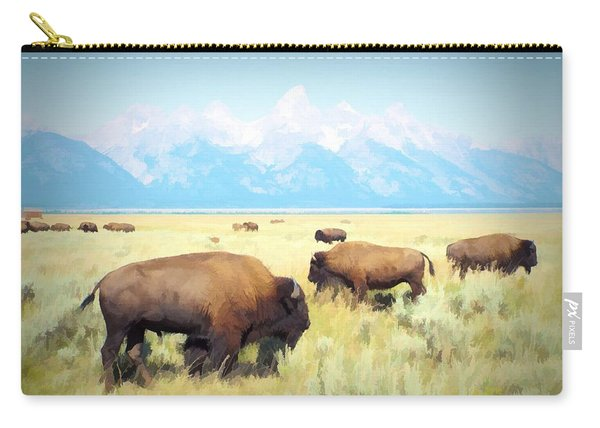 Buffalo Roam, Smokey Grand Tetons, Wyoming Carry-all Pouch