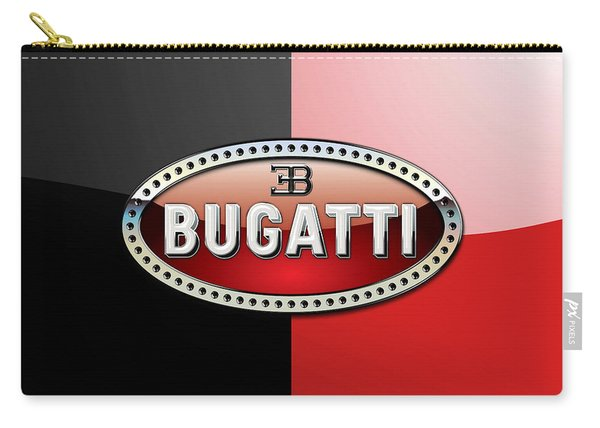 Bugatti 3 D Badge On Red And Black  Carry-all Pouch