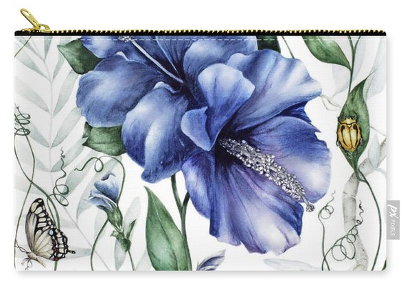 Bugs And Blue Hibiscus Carry-all Pouch