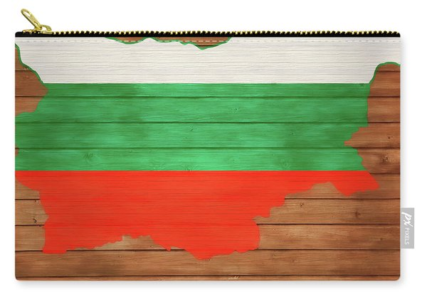 Bulgaria Rustic Map On Wood Carry-all Pouch