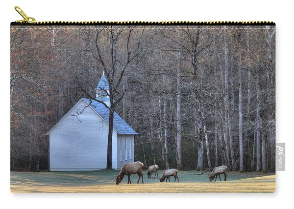 Bull Elk Attending Palmer Chapel  In The Great Smoky Mountains National Park Carry-all Pouch