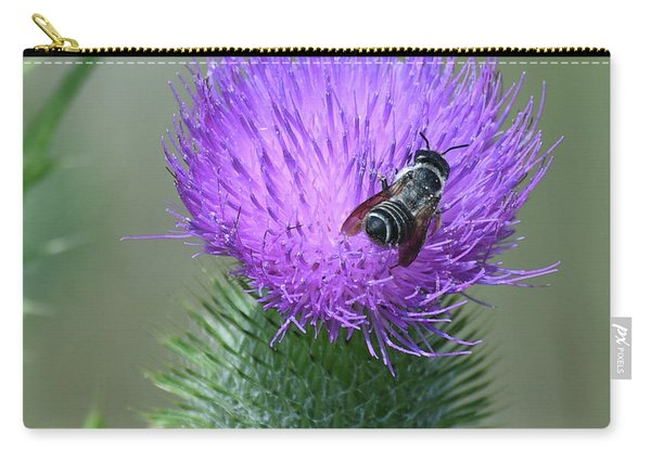 Bull Thistle And Leafcutter Bee Carry-all Pouch