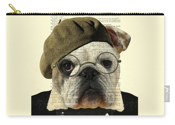 Bulldog Portrait, Animals In Clothes Carry-all Pouch