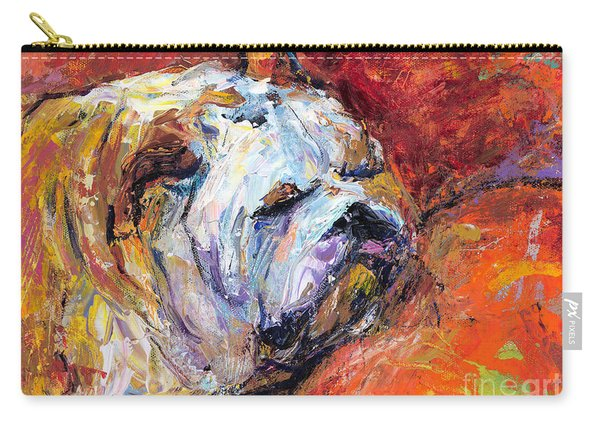 Bulldog Portrait Painting Impasto Carry-all Pouch