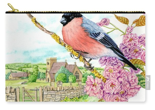 Bullfinch On Cherry Blossom Carry-all Pouch