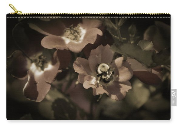 Bumblebee On Blush Country Rose In Sepia Tones Carry-all Pouch