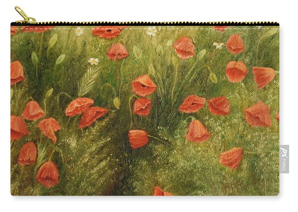 Carry-all Pouch featuring the painting Bunch Of Poppies by Angeles M Pomata