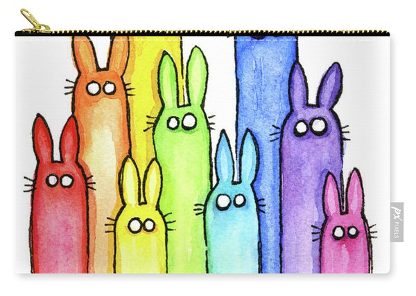 Bunny Rabbits Watercolor Rainbow Carry-all Pouch
